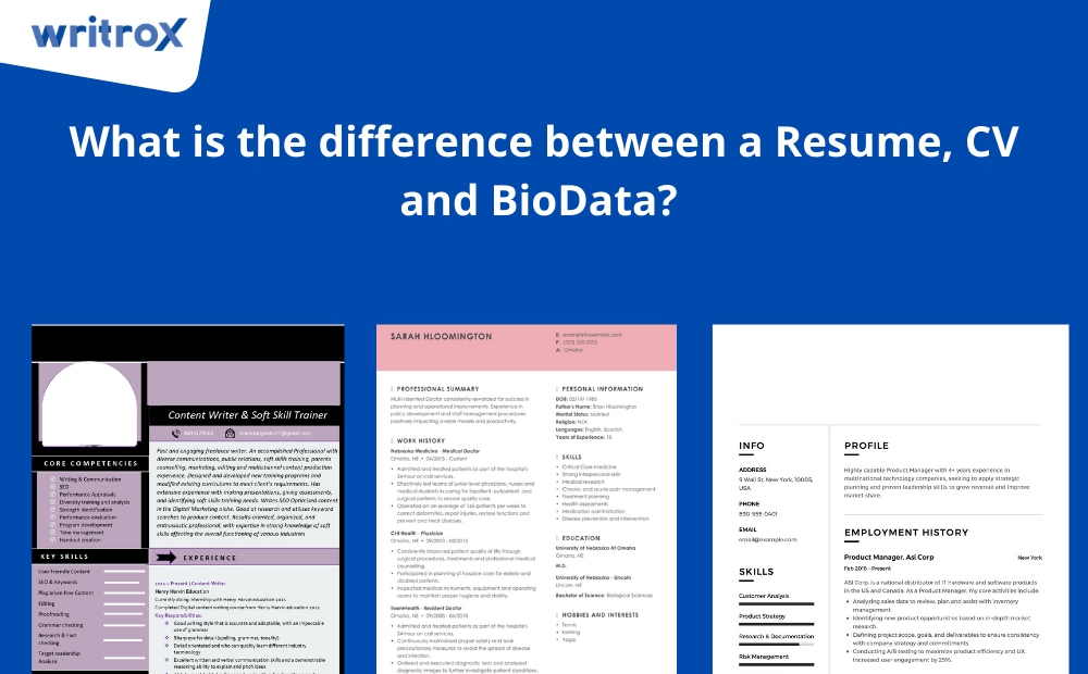 difference between a Resume CV and BioData